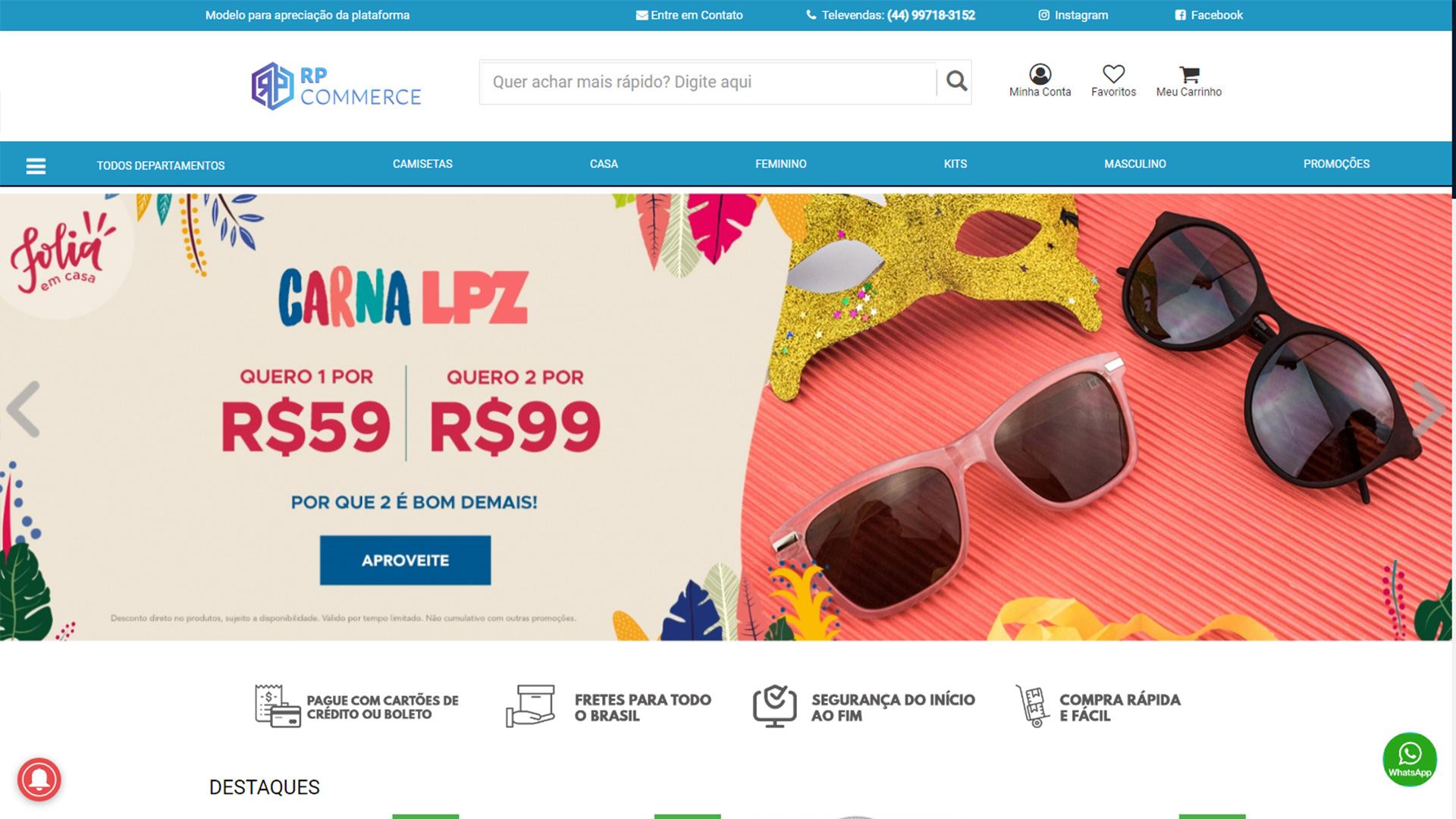 RP Commerce. Plataforma de Loja Virtual Pronta para Vender